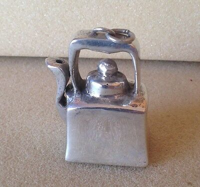 Vintage and large Solid silver kettle pendant
