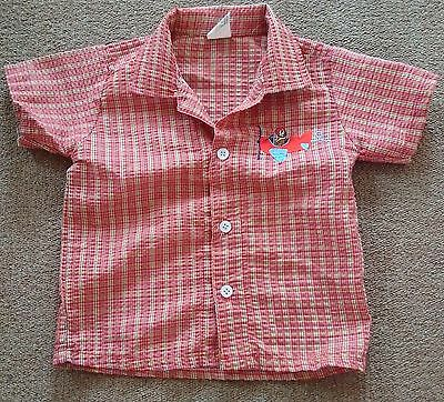 Boys Cotton Short Sleeve Red Check Shirt, Size 12-18 Months
