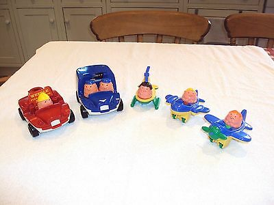 Vintage Weeble vehicles and figures - planes / helicopter / police / fire