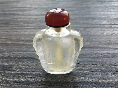 19th cent Chinese carved crystal snuff bottle
