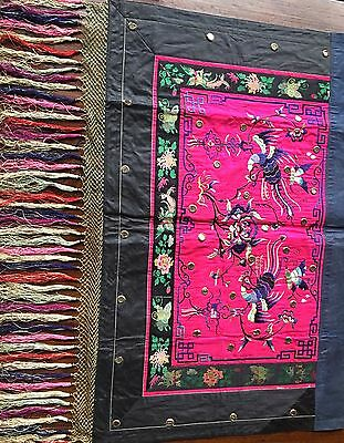 19th Cent Chinese Embroidery Wedding Picture with Tassels
