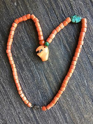 19th century Chinese Coral Necklace With Turquoise Bead