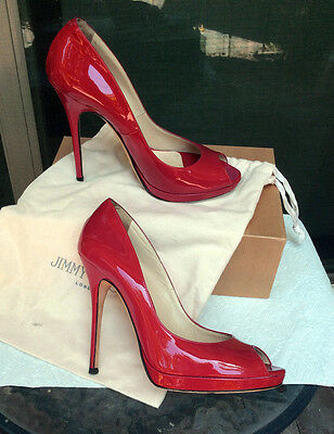 Jimmy Choo Red Patent Pep Toe High Heels Pumps 40 US size 9y