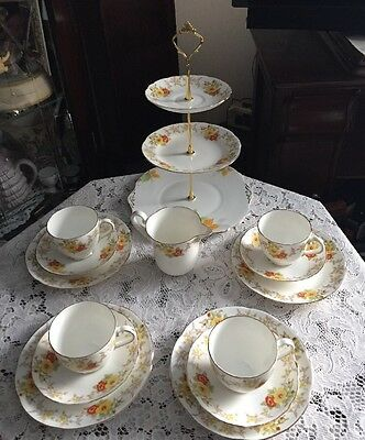 "A Pretty Vintage Radfords Crown China Tea Set And Cake Stand "" Mayfair"""