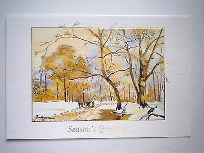 """VTG """"SERENE WINTER"""" CHRISTMAS GREETING CARD~ G.Barbedienne~ Mouth Painter~ #E215"""