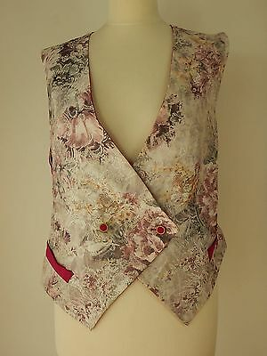 Vintage Womens Floral Double Braested Style Waistcoat Gilet Size XL