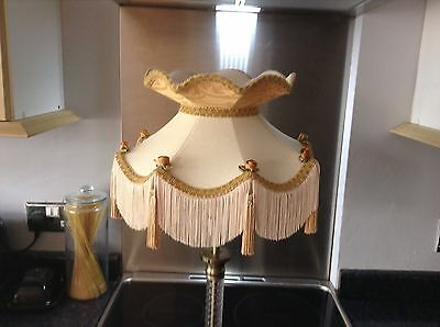 vintage downton abbey lined table Lamp Lampshade Shade Victorian Style Cream