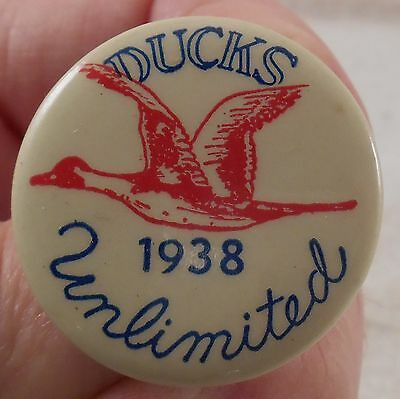 1938 Ducks Unlimited DU D U Button Pin Pinback ORIGINAL Pintail Duck Decoy Call