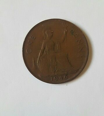 1946 One Penny Coin King George The Sixth, Bronze, Good Used Condition.