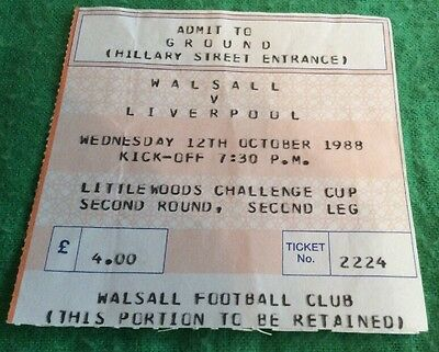 Walsall V Liverpool Littlewoods Cup 1988 Ticket Stub