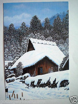 """VINTAGE """"DEEP WINTER"""" CHRISTMAS GREETING CARD ~ I.Adachi - Mouth Painter ~ #E213"""