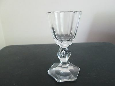 Very Unusual 19Th Century Hand Blown Cut Wine Glass With Hollow Teardrop Stem