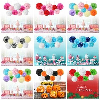 Tissue Paper Pompom Pom Flower Garland Baby Shower Wedding Party Hanging Decor
