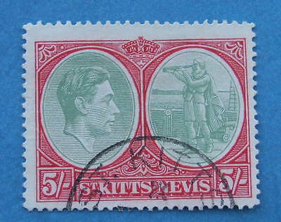St Kitts / Nevis  - 1938    Five Shillings    5/-   Sg77  Fu  See Photos