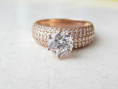 Rose Gold Plated 925 Sterling Silver Turkish White Topaz Solitaire Ring Size 7.5
