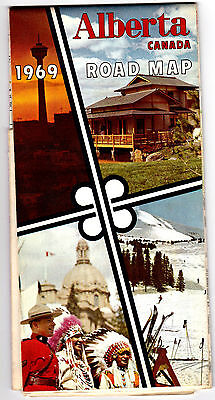 1969 Alberta Official Highway Map Government Issue Canadian Road Map meac10