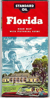 1954 Standard Oil Florida Highway Map with pictorial guide gdc6