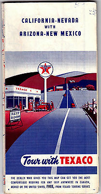 1955 California Nevada Texaco Highway Map with Arizona & New Mexico gdc6