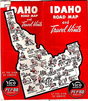 Vico Motor Oil Pep 88 Gasoline Idaho Highway Map 1950s vintage gdc6