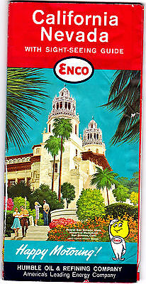 1962 California Nevada Enco Highway Map Humble Oil and Refining gdc6