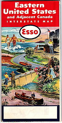 1962 Esso Oil Road Map of Eastern United States & Adjacent Canada gdc6
