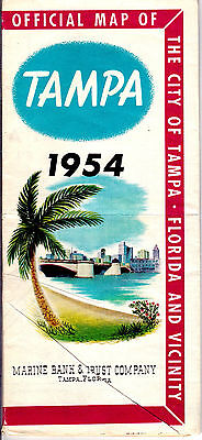 1954 Official Highway Map of Tampa Florida Marine Bank and Trust Company gdc6
