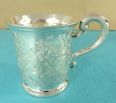 Beautiful Early Victorian Sterling Silver Mug Chased Leaves Flowers London 1852