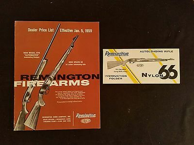"""""""Remington Sporting Firearms"""" Dealer Price List & Instructions 1959 Illustrated"""