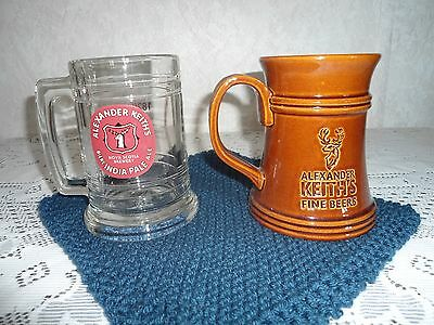 Lot of 2 Alexander Keith Beer Mug Stein, Clear glass and Brown mug glass