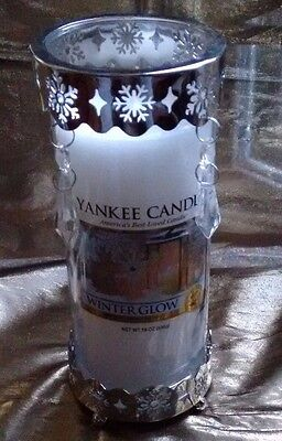 YaNKEE CaNDLE LaRGE PiLLAR CaNDLE+SnOWFLAKES CrYSTALS NeCKLACE+CuFF FrEE ShIP!