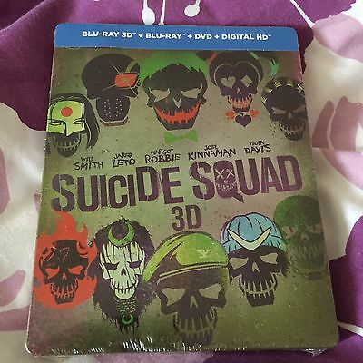 Suicide Squad: 3D /2D + Ext Edition(Blu Ray & DVD Steelbook) New