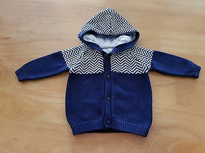 NEXT Baby Boy Clothes Navy Hooded Knit Cardigan Age 0-3m