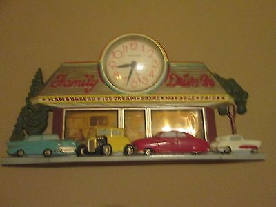 "Vintage Coca Cola.""family Drive In""...scene With Working Clock"