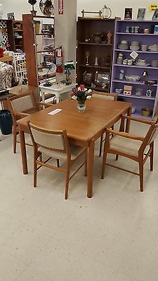 Mid century modern Danish teak dining table and chairs