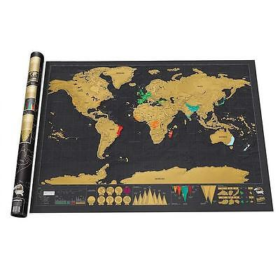 Deluxe Travel Edition Scratch Off World Map Personalized Journal Log Gift Hot T′