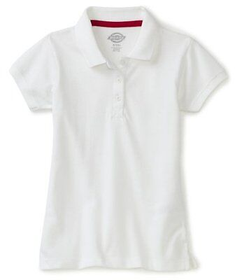 Dickies Big Girls' Short Sleeve Pique Polo Shirt, White, Large