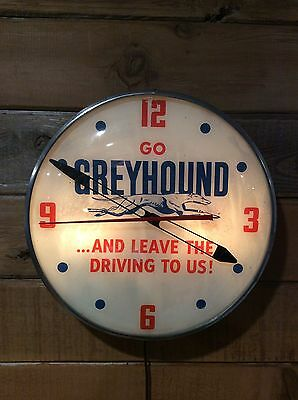 "Greyhound Bus lines Pam Clock 15"" Original 1940-50's Rare Collectible Vintage"