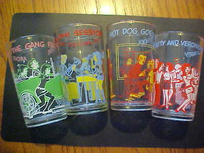 Four 1971/3 Welch's Archie And The Gang Series Jelly Glasses