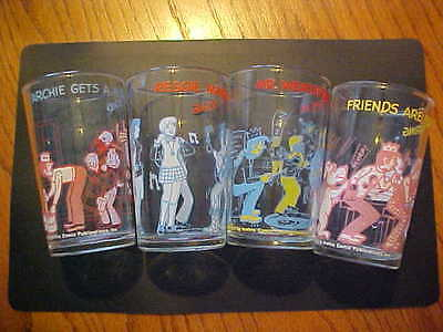 4 1973 Welch's Archie And The Gang Jelly Glasses In Great Condition