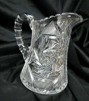 "beautiful cut glass / crystal water pitcher 8"" tall and perfect / brilliant cut"
