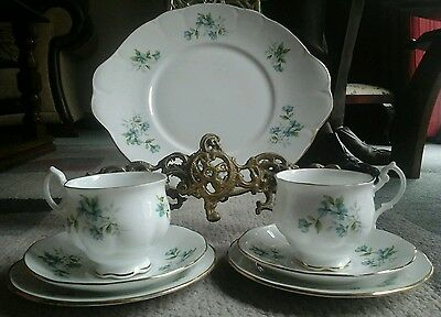 Royal Stafford Bone China Pair Of Cup Saucers & Plates & Cake Plate Coquette Pat