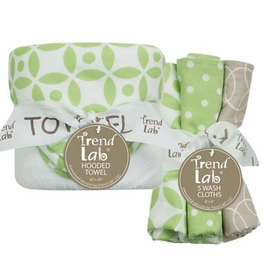 Trend Lab 6 Piece Hooded Towel and Wash Cloth Set - Lauren