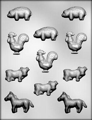 FARM ANIMAL ASSORTMENT CHOCOLATE MOLD 11210 (Pig, Horse, Cow, Rooster)