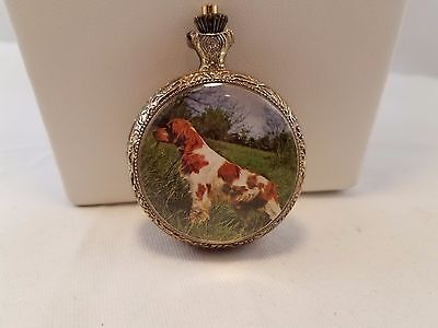 Vintage pocket watch with Irish red & white setter dog-needs battery
