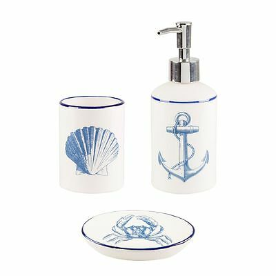Blue sea nautical vintage bathroom accessories set for Sea bath accessories