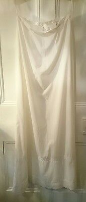 "Vintage white Nylon Long Full Length Petticoat 27"" waist 40"" length"