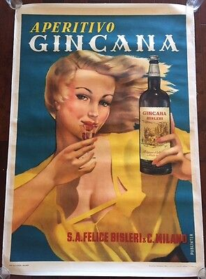 Aperitivo Gincana - Original 1940 Italian Lb Alcohol Advertsing Poster - Fun Art