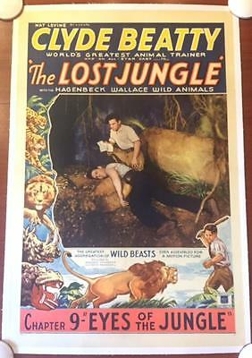 The Lost Jungle Chapter 9 - Original 1934 Lb One Sheet Poster - Clyde Beatty!
