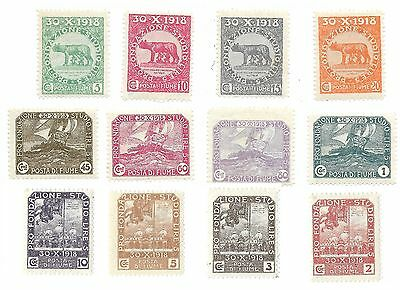 Flume (Italy) 1919 Students Education Fund Stamp Set - Fine, mounted, Mint