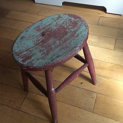 Wooden Stool Small Vintage Style Painted Side Table